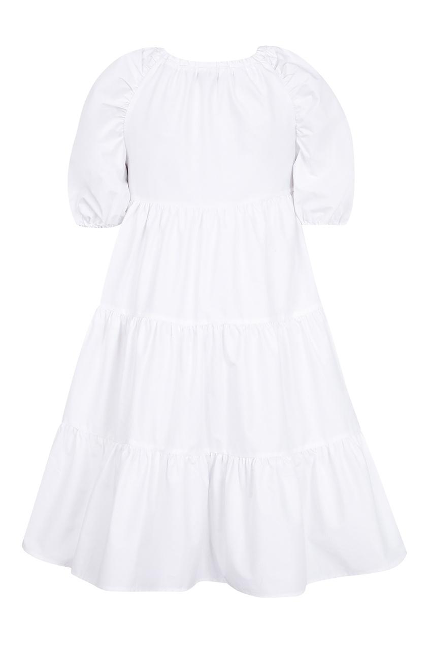 Купить Платье с контрастным бантом белого цвета
