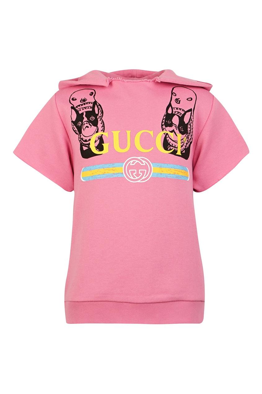 Купить Розовая толстовка с логотипом от Gucci Kids розового цвета