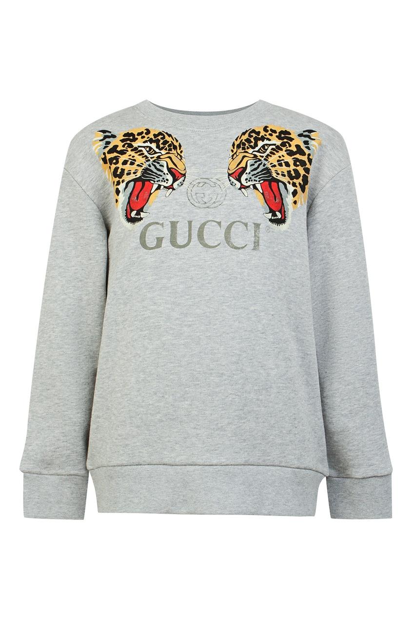 Купить Серый свитшот с тиграми от Gucci Kids серого цвета