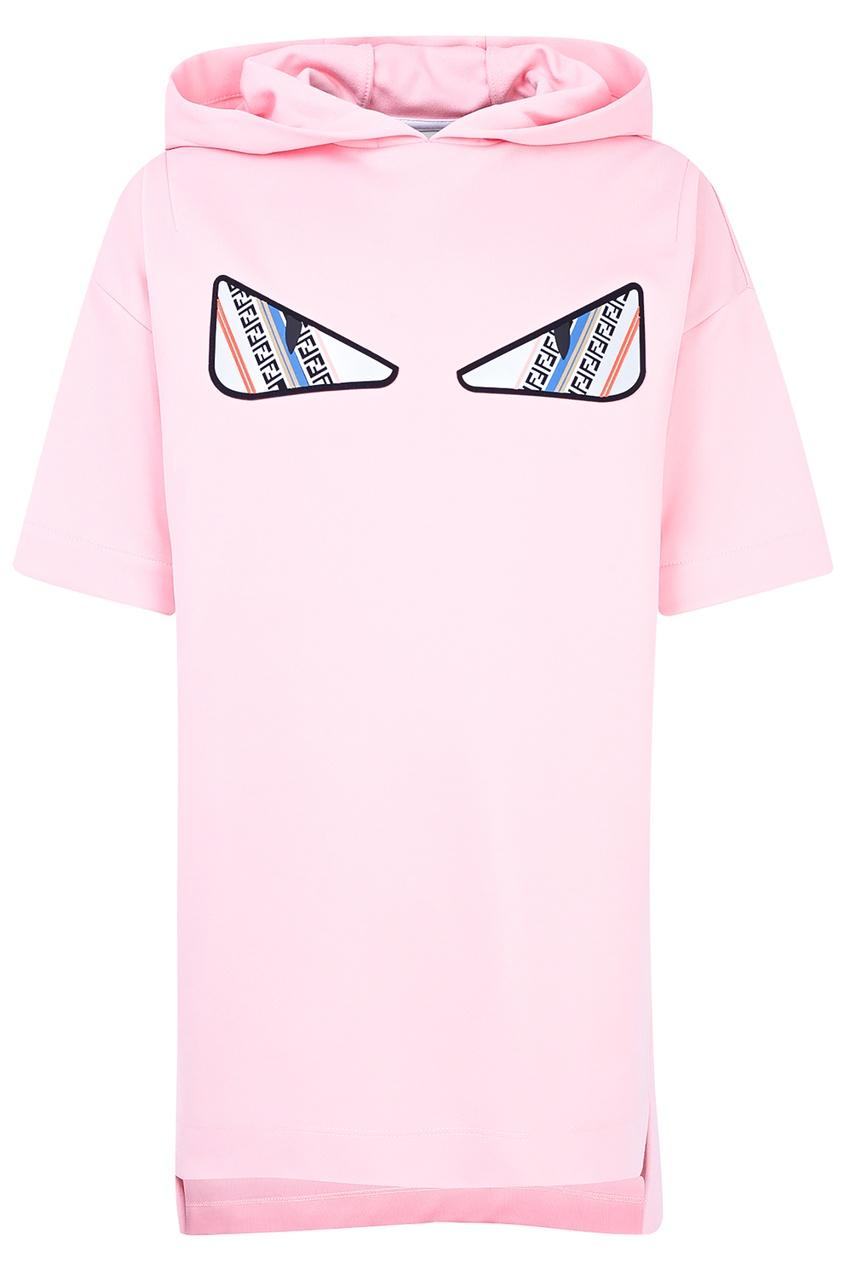 Купить Розовое платье с капюшоном от Fendi Kids розового цвета