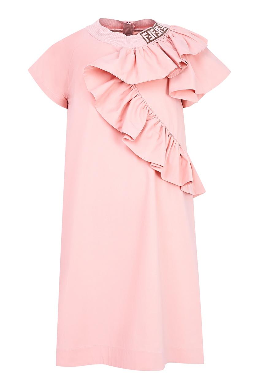 Купить Платье с воланом от Fendi Kids розового цвета