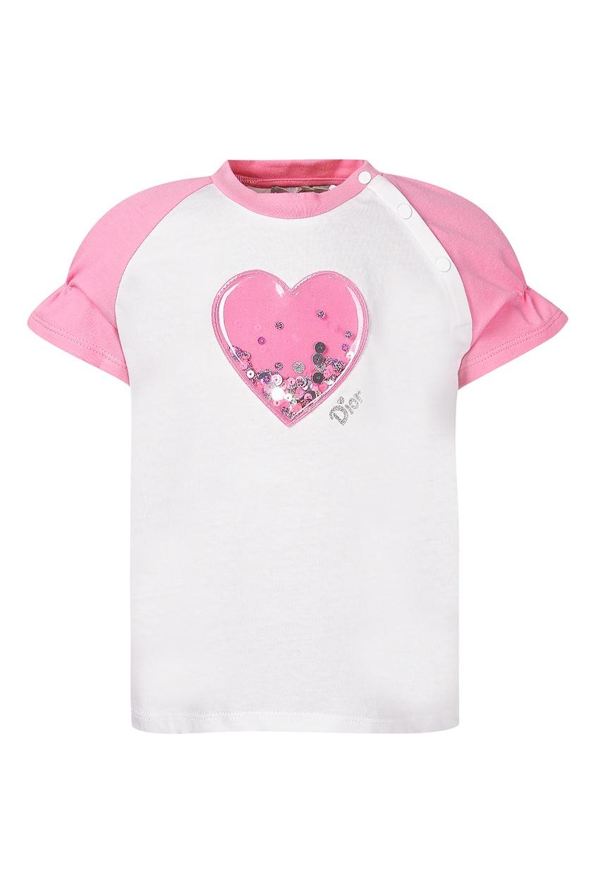 Купить Футболку с розовым сердечком от Dior Kids белого цвета