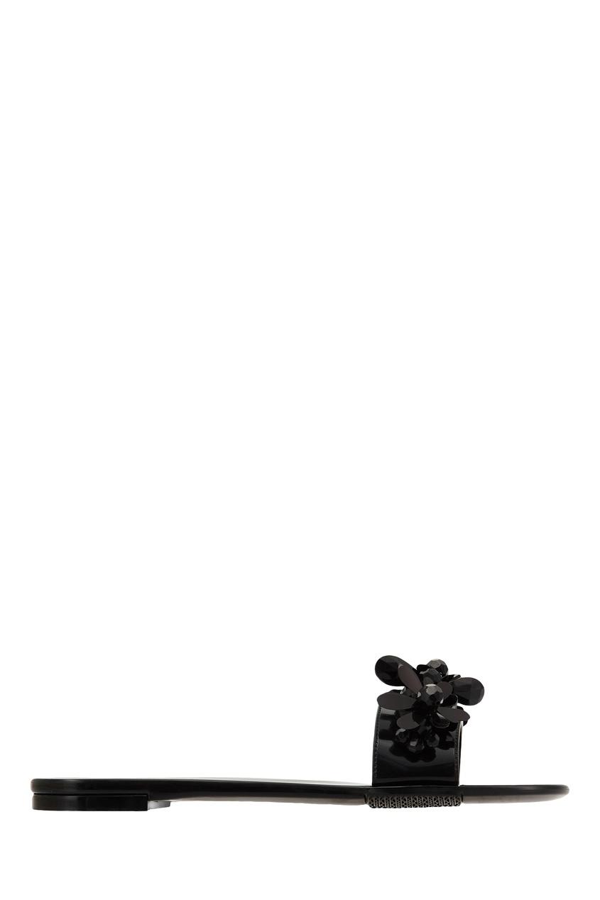 Купить со скидкой Черные пантолеты с цветочным декором
