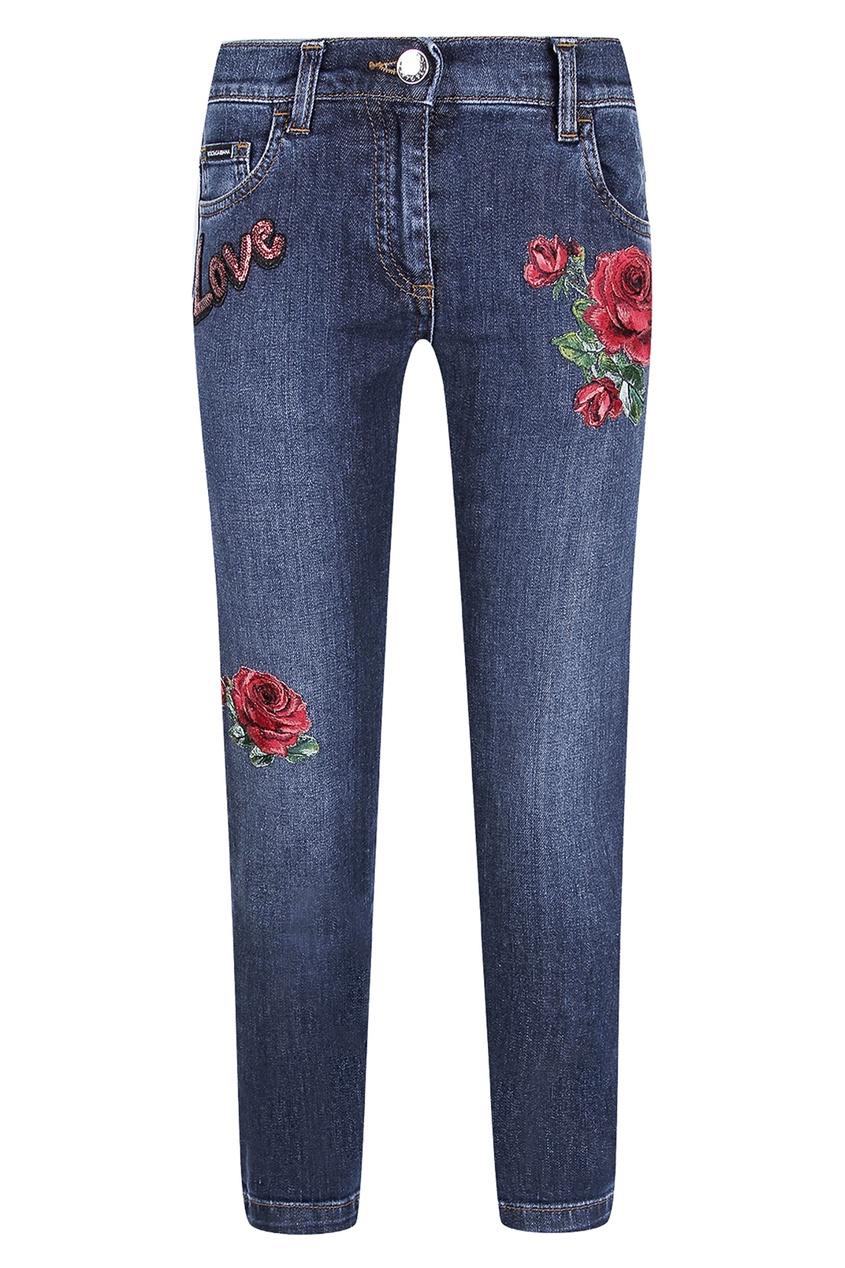 Купить Джинсы с розами синего цвета