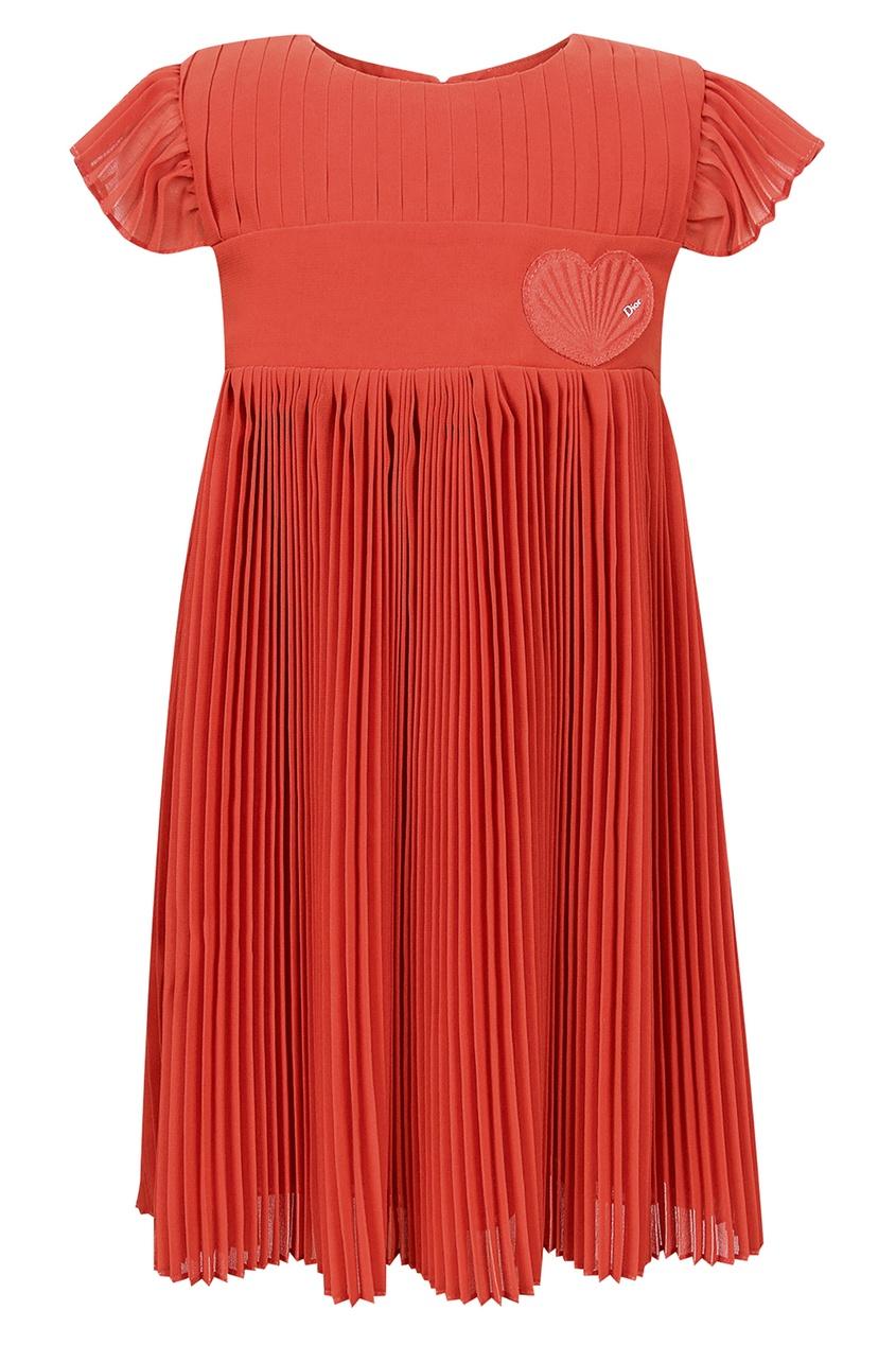 Купить Красное платье с плиссированной юбкой от Dior Kids красного цвета