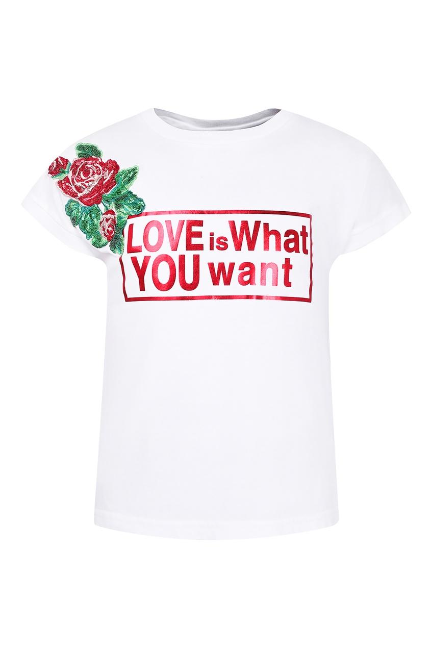 Купить Футболку с розами белого цвета