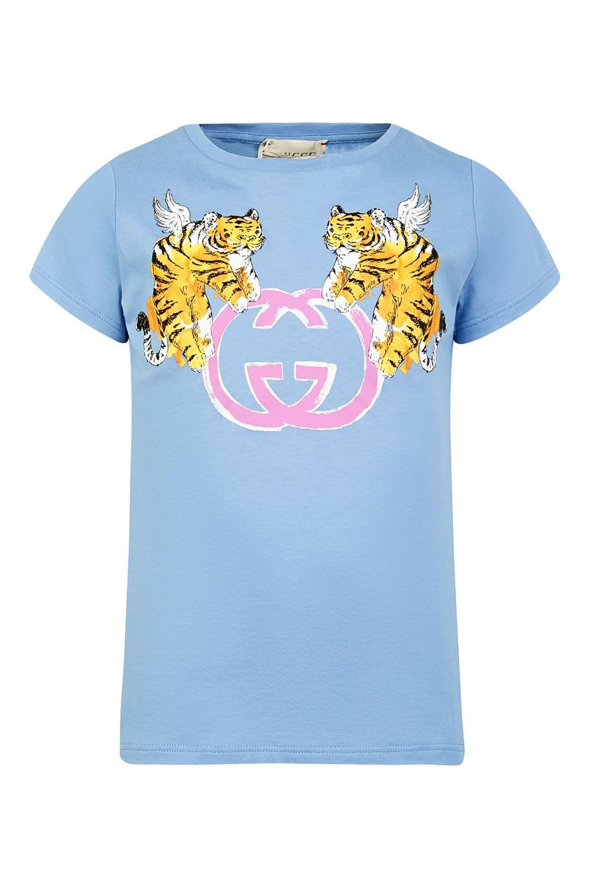 Купить Голубая футболка с розовым логотипом от Gucci Kids голубого цвета