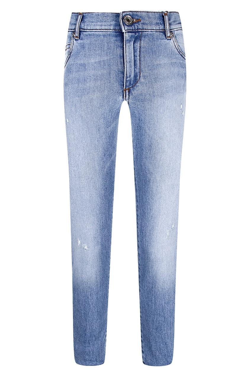 Купить Потертые узкие джинсы голубого цвета