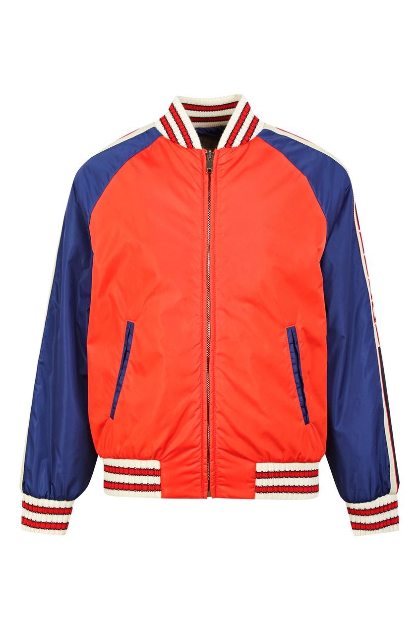 Купить Контрастная куртка от Gucci Kids оранжевого цвета