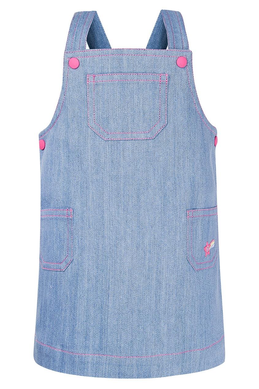 Купить Голубой сарафан с контрастной отделкой от Dior Kids голубого цвета