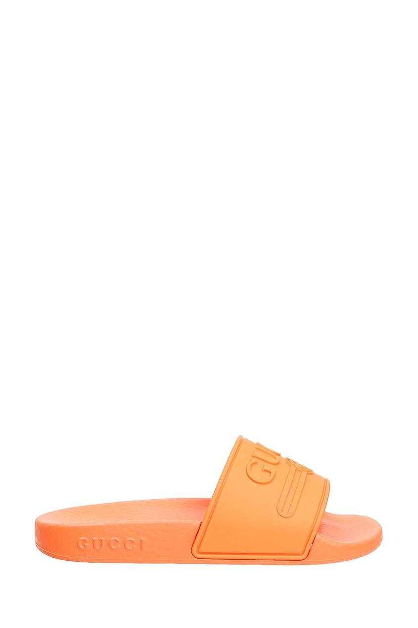 Купить Оранжевый шлепанцы от Gucci Kids оранжевого цвета