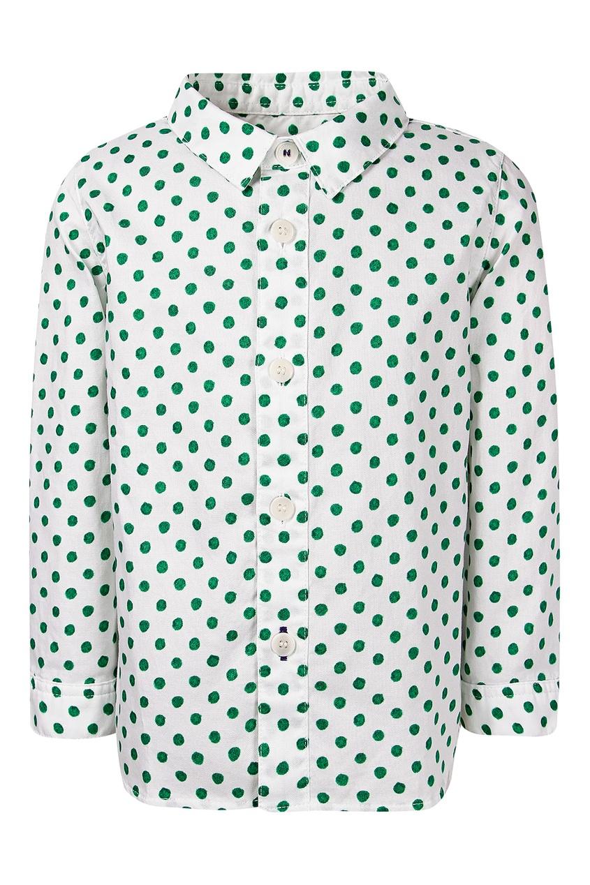 Купить Рубашку в зеленый горошек от Burberry Kids белого цвета