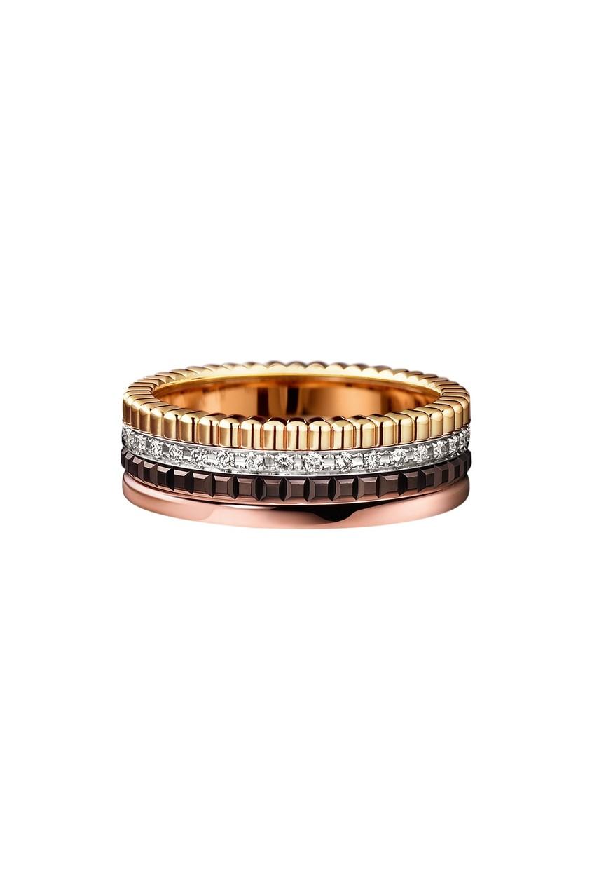 Кольцо QUATRE CLASSIQUE из желтого и розового золота и бриллиантов