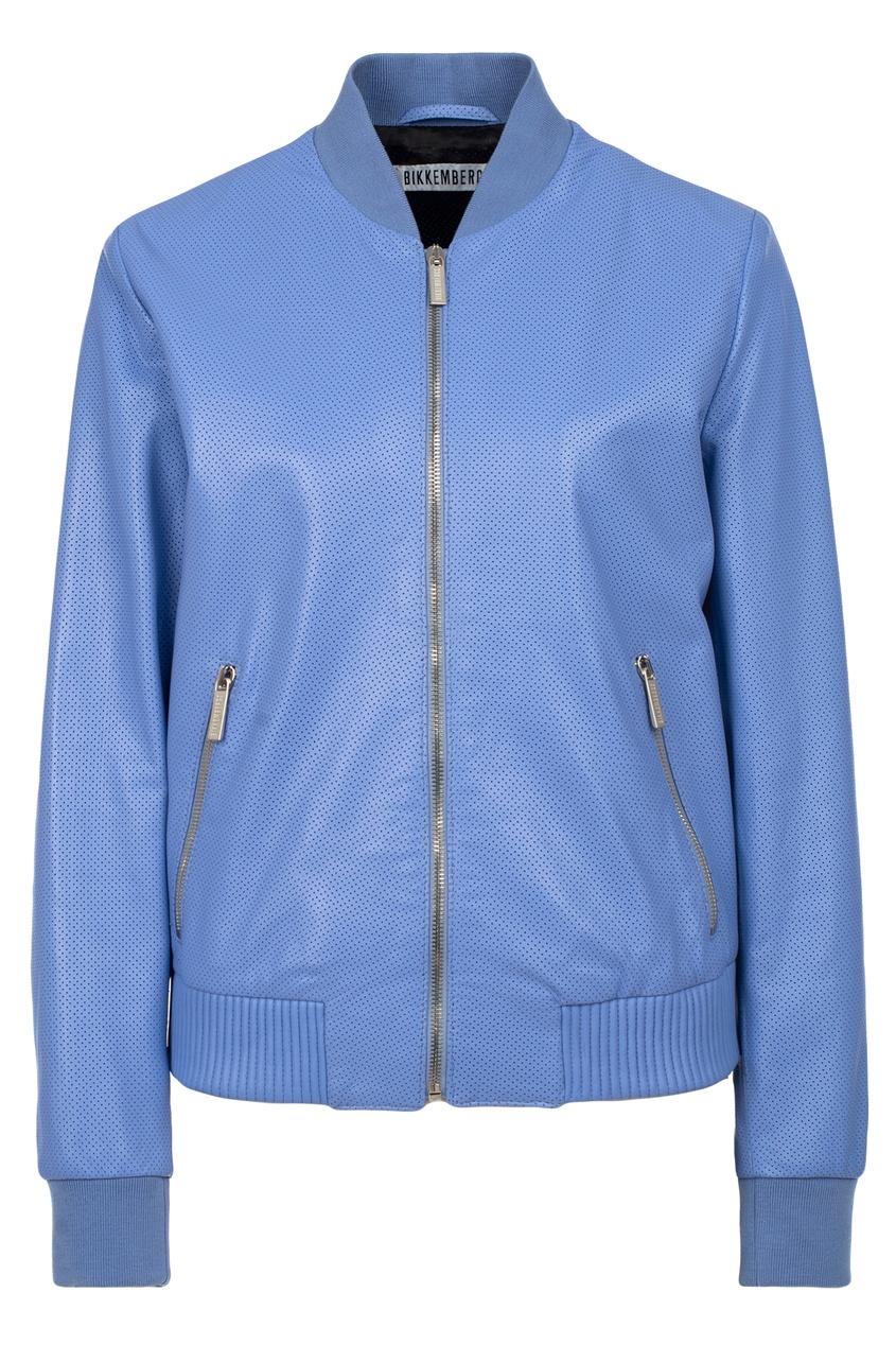 Синяя кожаная куртка Bikkembergs. Цвет: фиолетовый