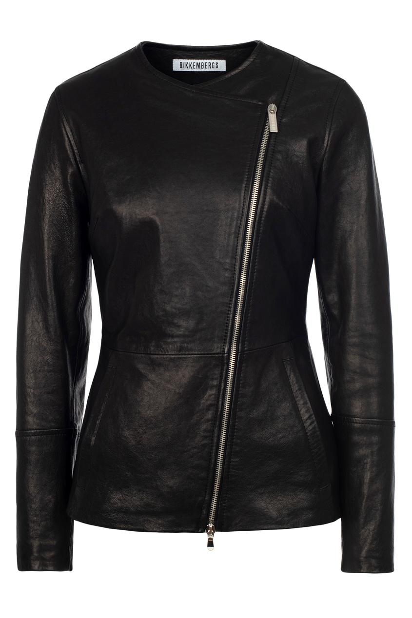 Кожаная черная куртка Bikkembergs. Цвет: черный