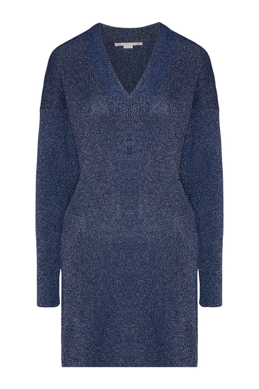 Синее блестящее платье Stella McCartney
