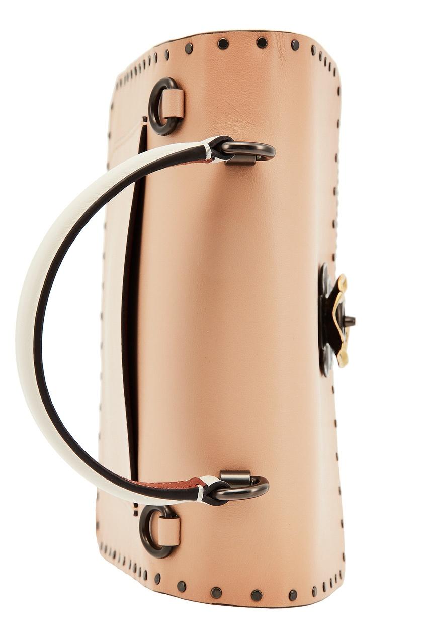 Фото 5 - Комбинированная сумка с декором Parker от Coach бежевого цвета