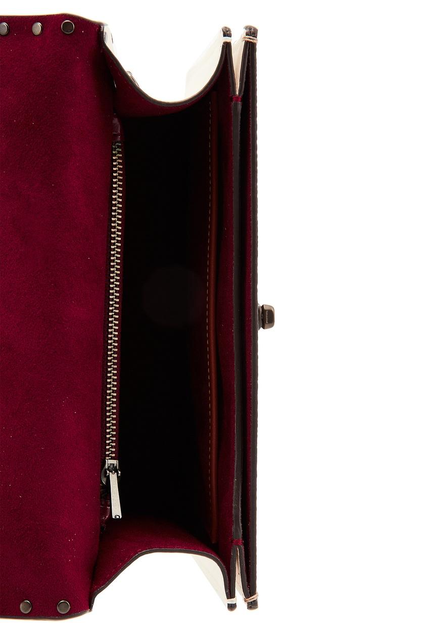 Фото 6 - Комбинированная сумка с декором Parker от Coach бежевого цвета