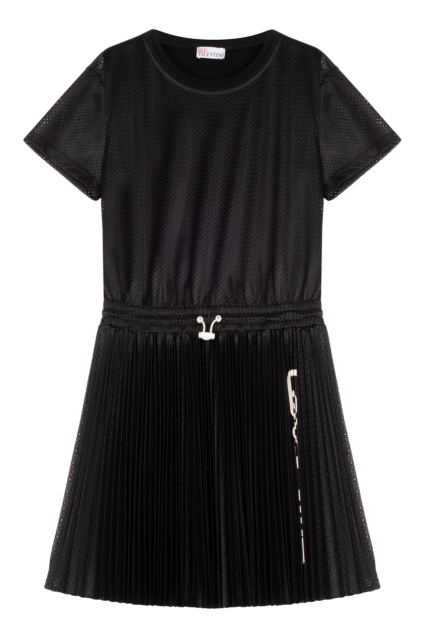 Платье-мини с перфорацией и плиссе Red Valentino