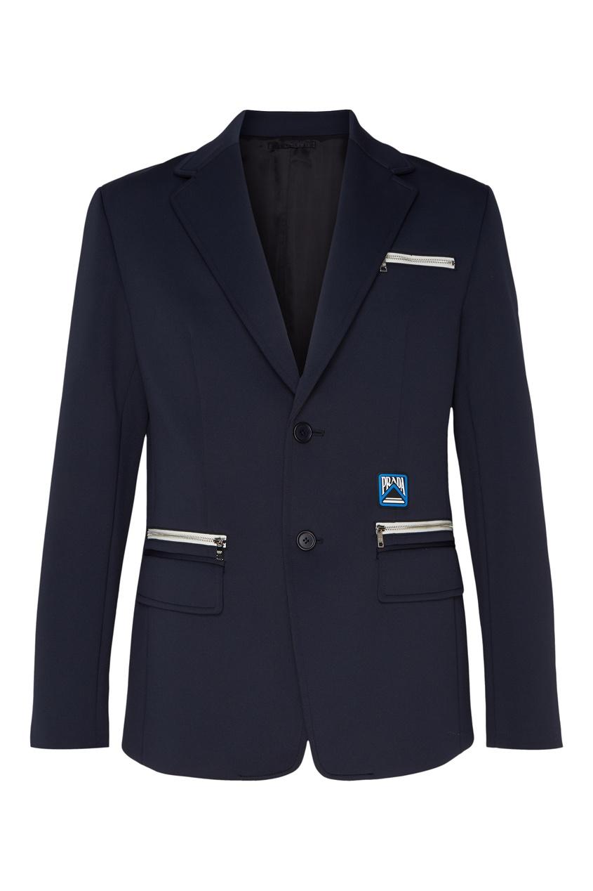 Темно-синий пиджак с пятью карманами от Prada