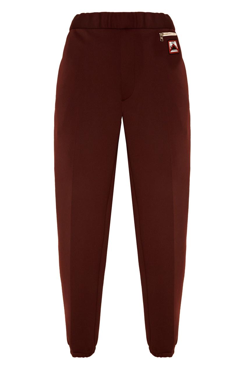 Бордовые трикотажные брюки с логотипом от Prada