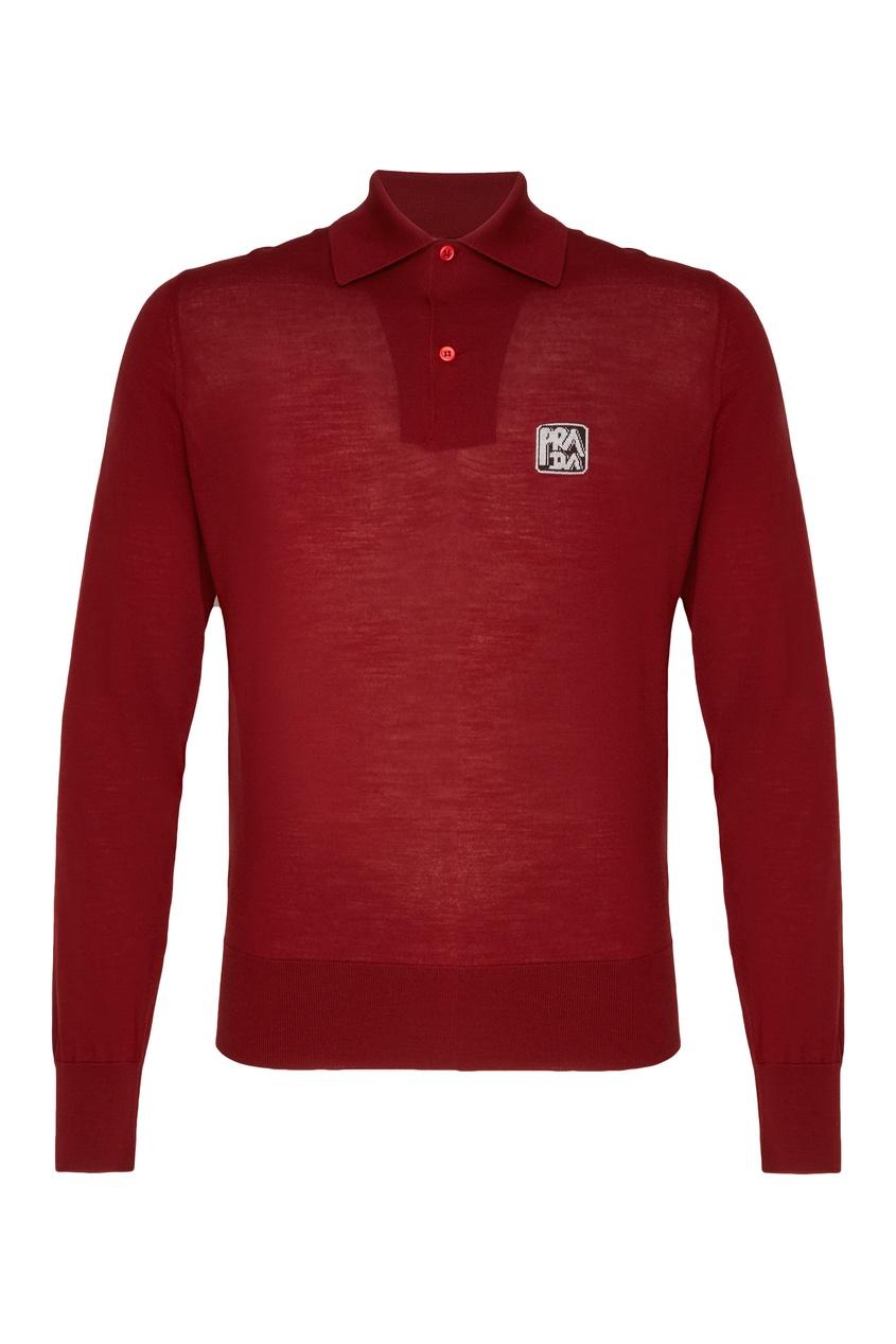 Красный лонгслив с воротником-поло от Prada