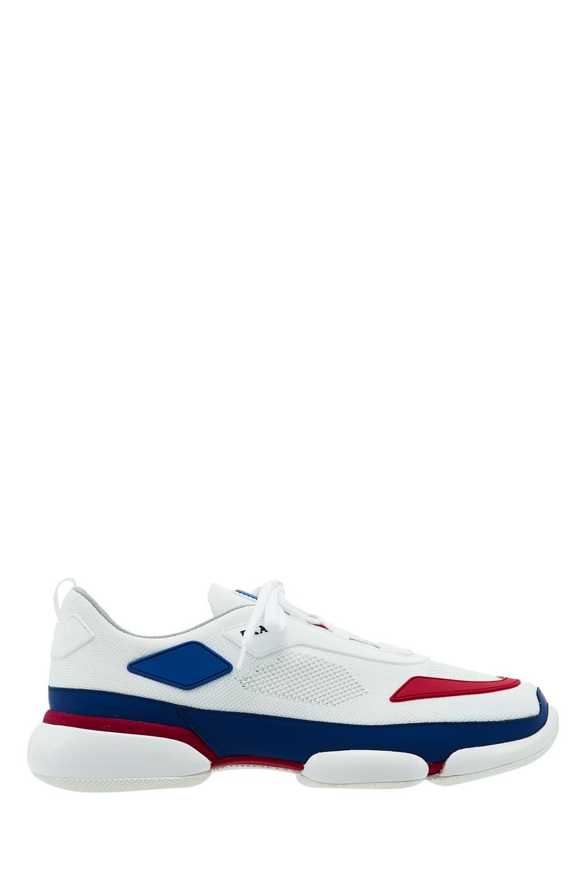 мужские кроссовки prada, белые