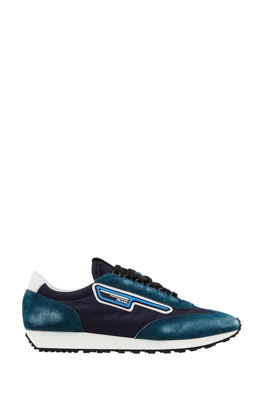 Купить Сине-бирюзовые кроссовки-лоутопы от Prada синего цвета