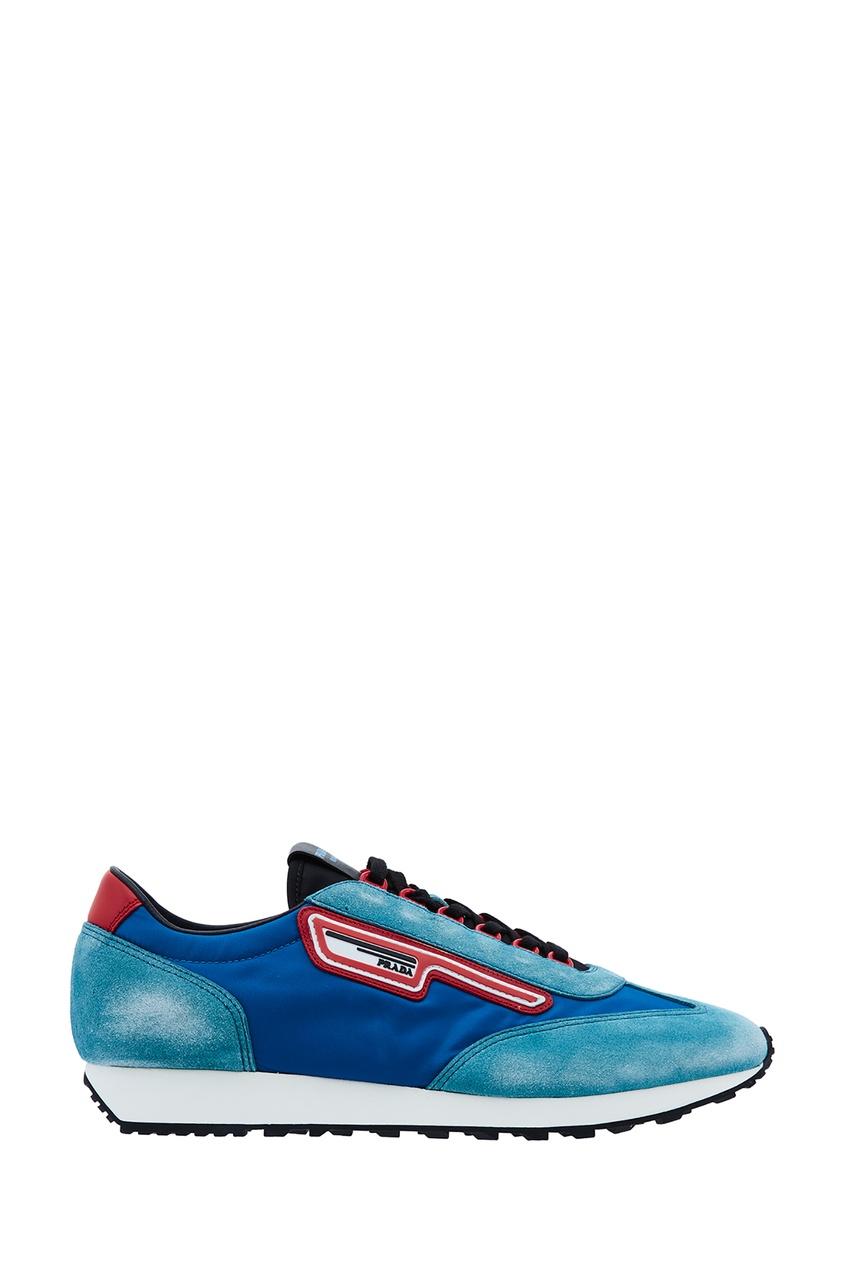 мужские кроссовки prada, синие