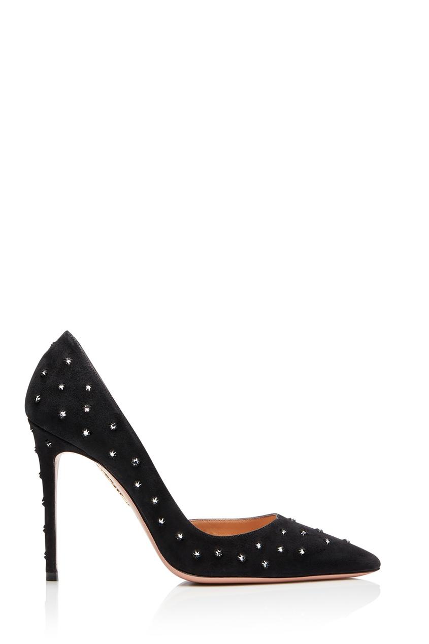 Черные туфли Wish 105 со стразами Aquazzura