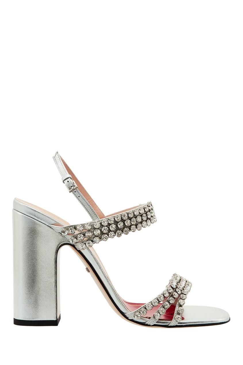 Серебристые босоножки с кристаллами Gucci