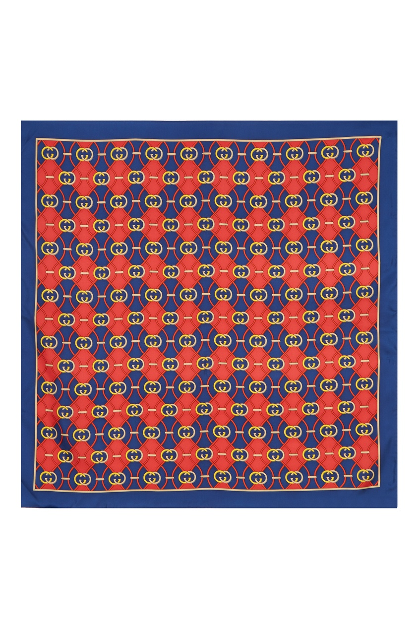 Фото 3 - Красно-синий шелковый платок GG от Gucci синего цвета