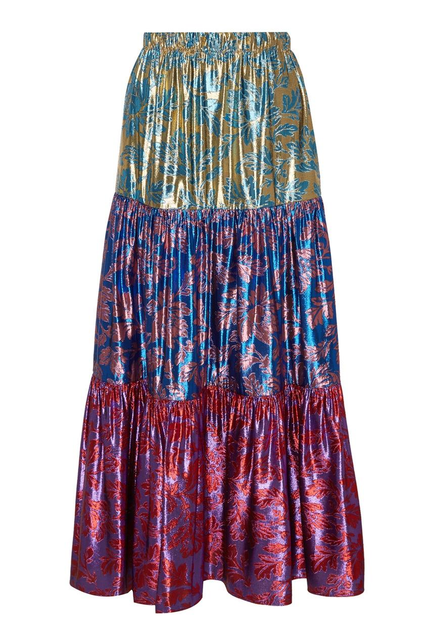Ярусная юбка с цветочным мотивом Gucci