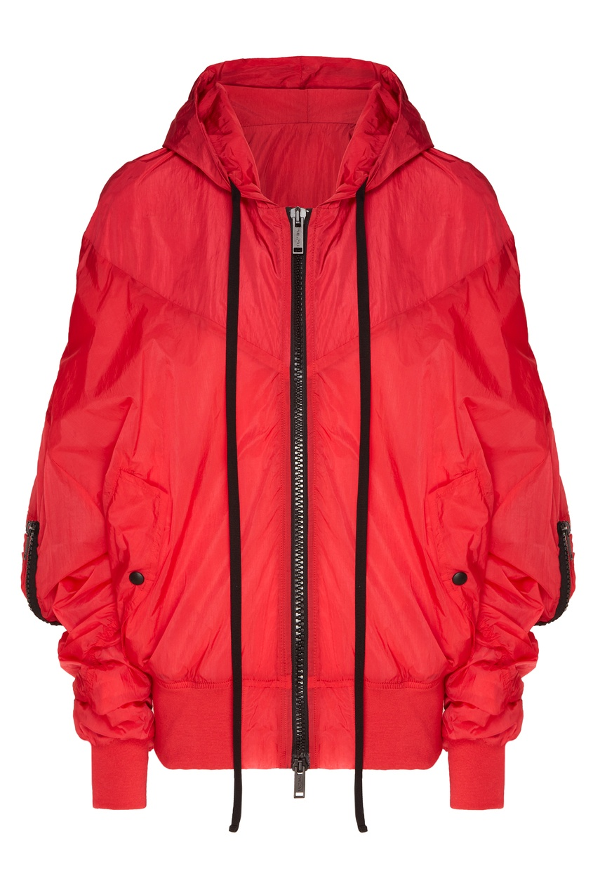 Купить со скидкой Красная куртка оверсайз с капюшоном