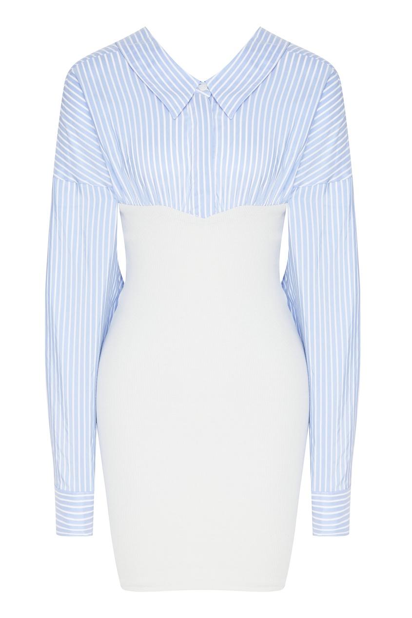 Комбинированное платье из шелка и хлопка Unravel Project