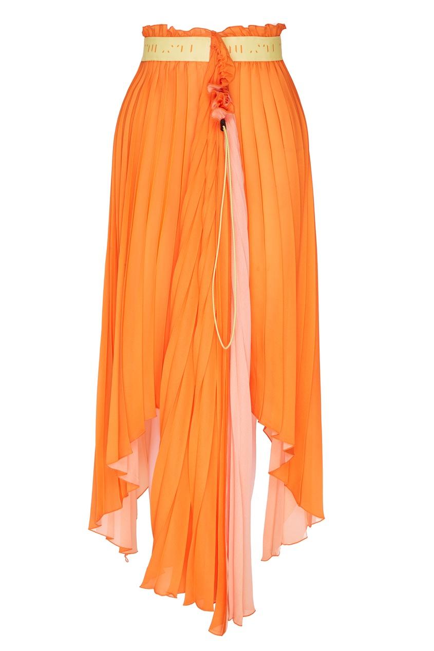 Асимметричная оранжевая юбка плиссе Unravel Project