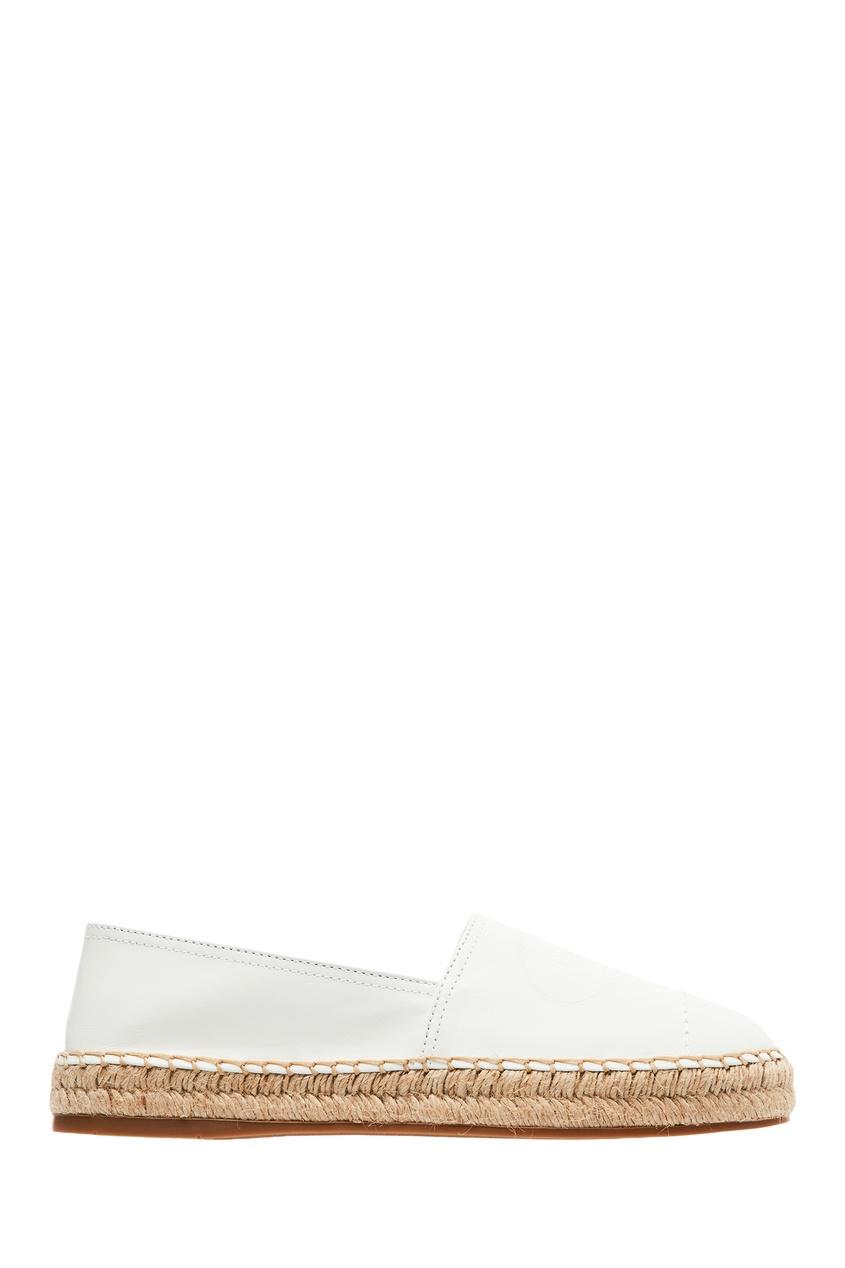 Белые кожаные эспадрильи с логотипом PRADA