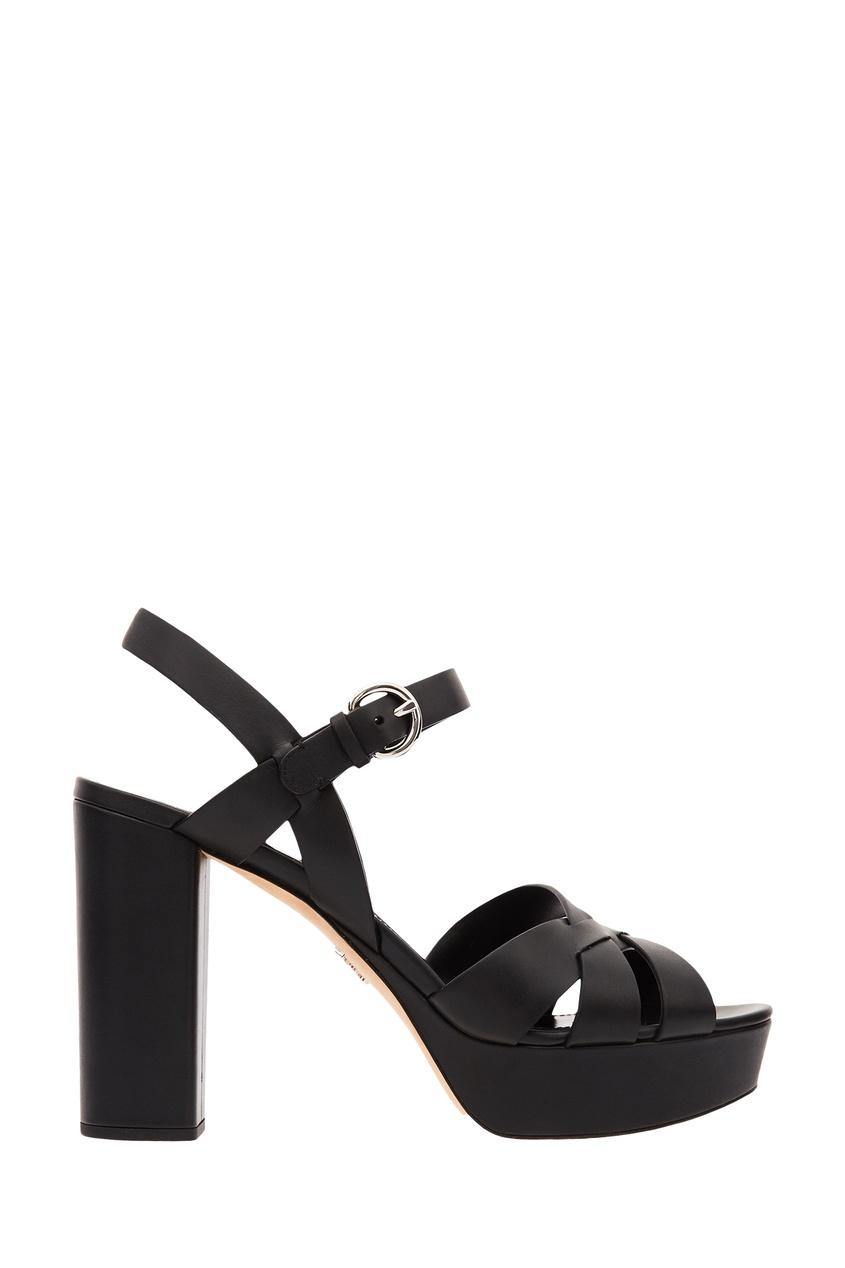 Черные босоножки на платформе и каблуке от Prada