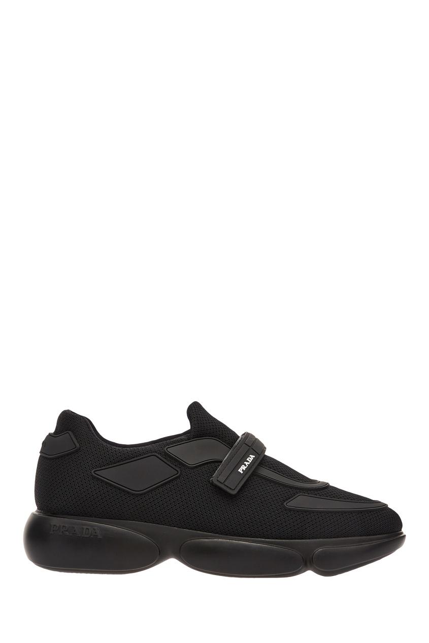 Черные текстильные кроссовки Cloudbust PRADA