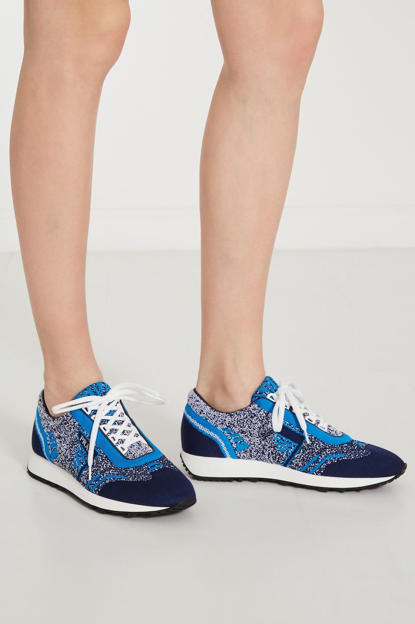 Фото 5 - Сине-голубые текстильные кроссовки от Prada синего цвета