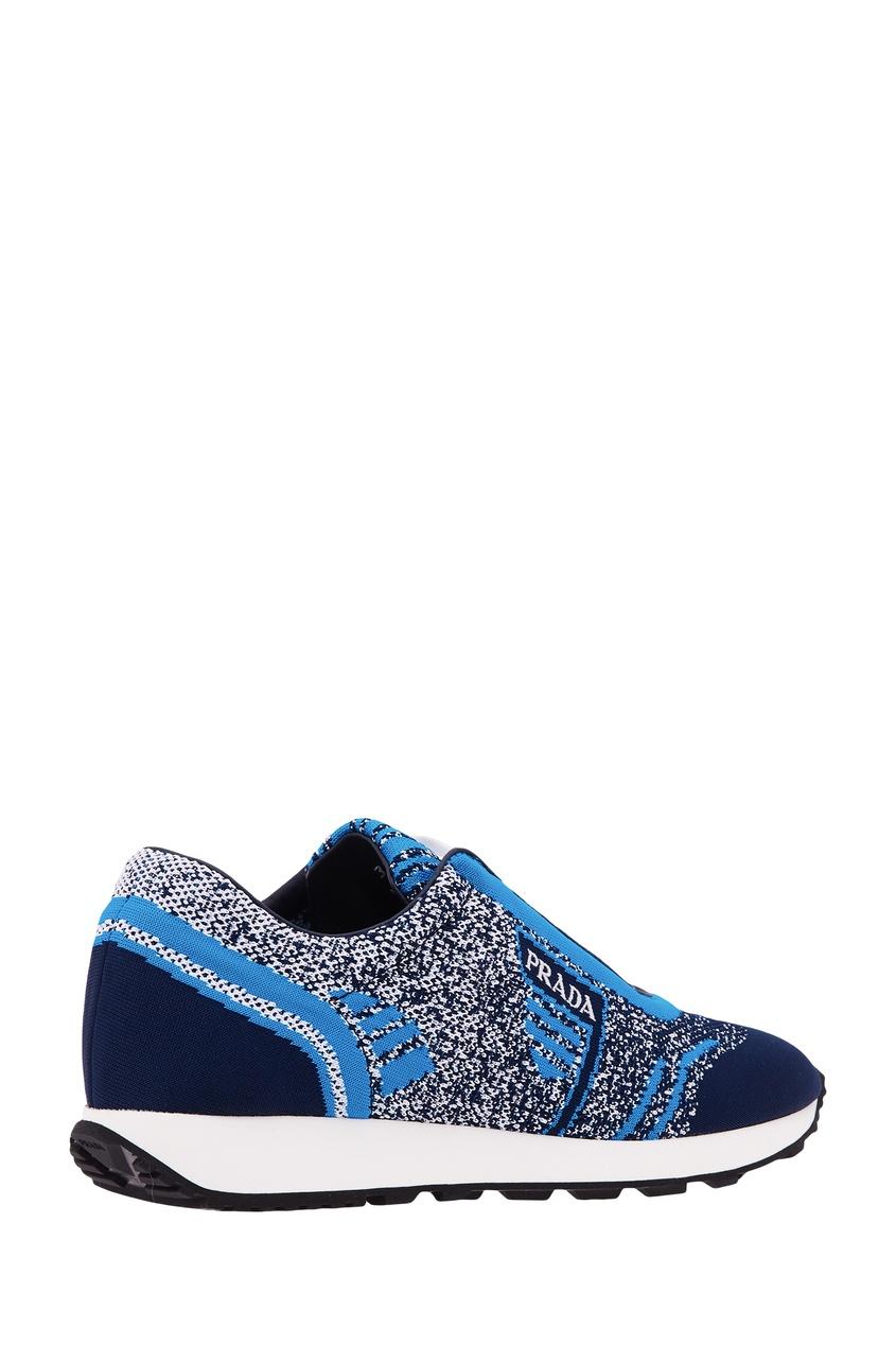 Фото 2 - Сине-голубые текстильные кроссовки от Prada синего цвета
