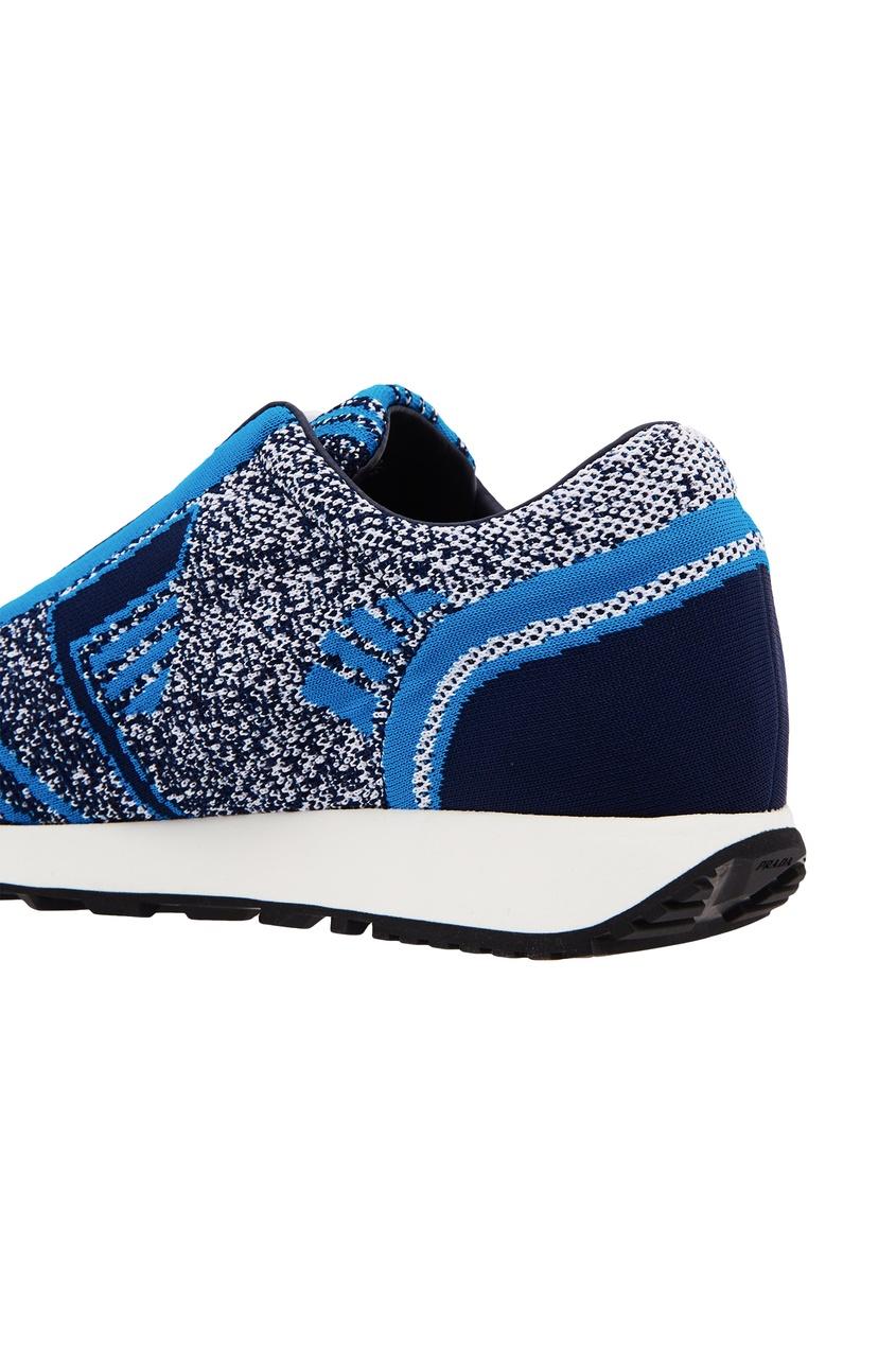 Фото 3 - Сине-голубые текстильные кроссовки от Prada синего цвета