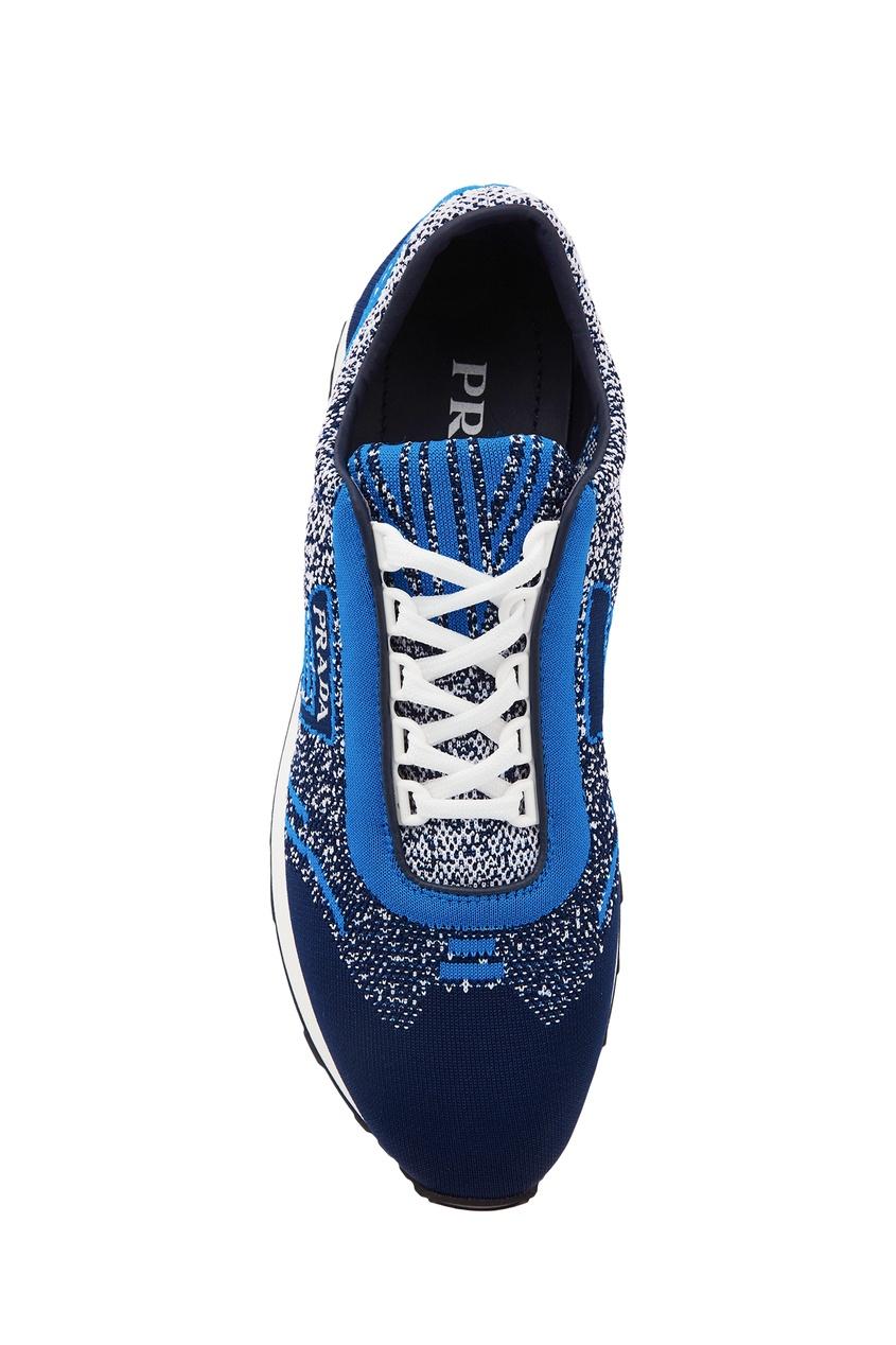 Фото 4 - Сине-голубые текстильные кроссовки от Prada синего цвета