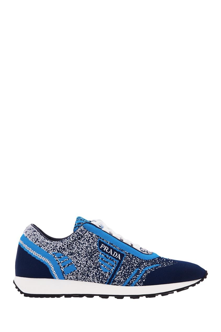 Фото - Сине-голубые текстильные кроссовки от Prada синего цвета