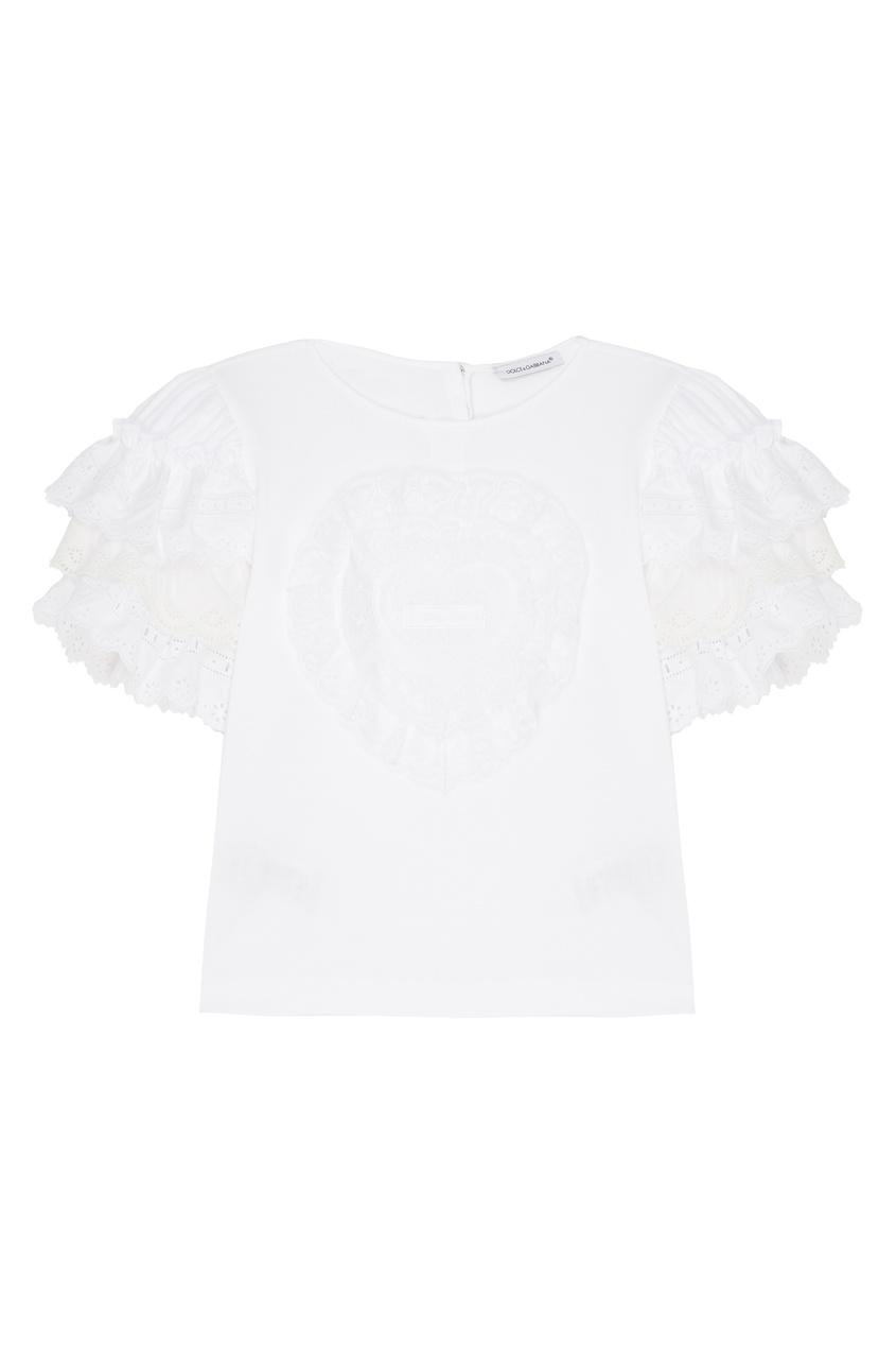 Купить Белая блузка с оборками белого цвета