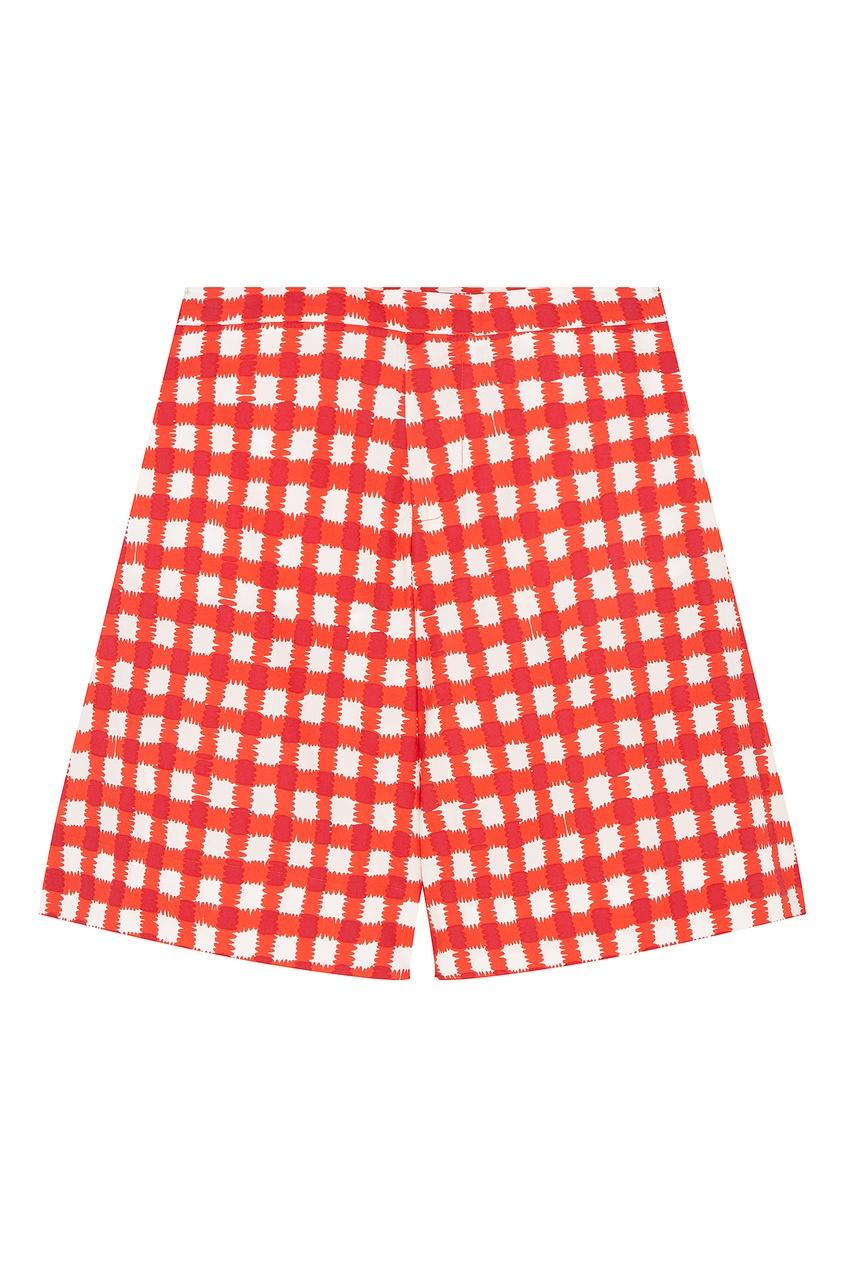 Купить Хлопковые шорты в крупную клетку от Marni Kids красного цвета