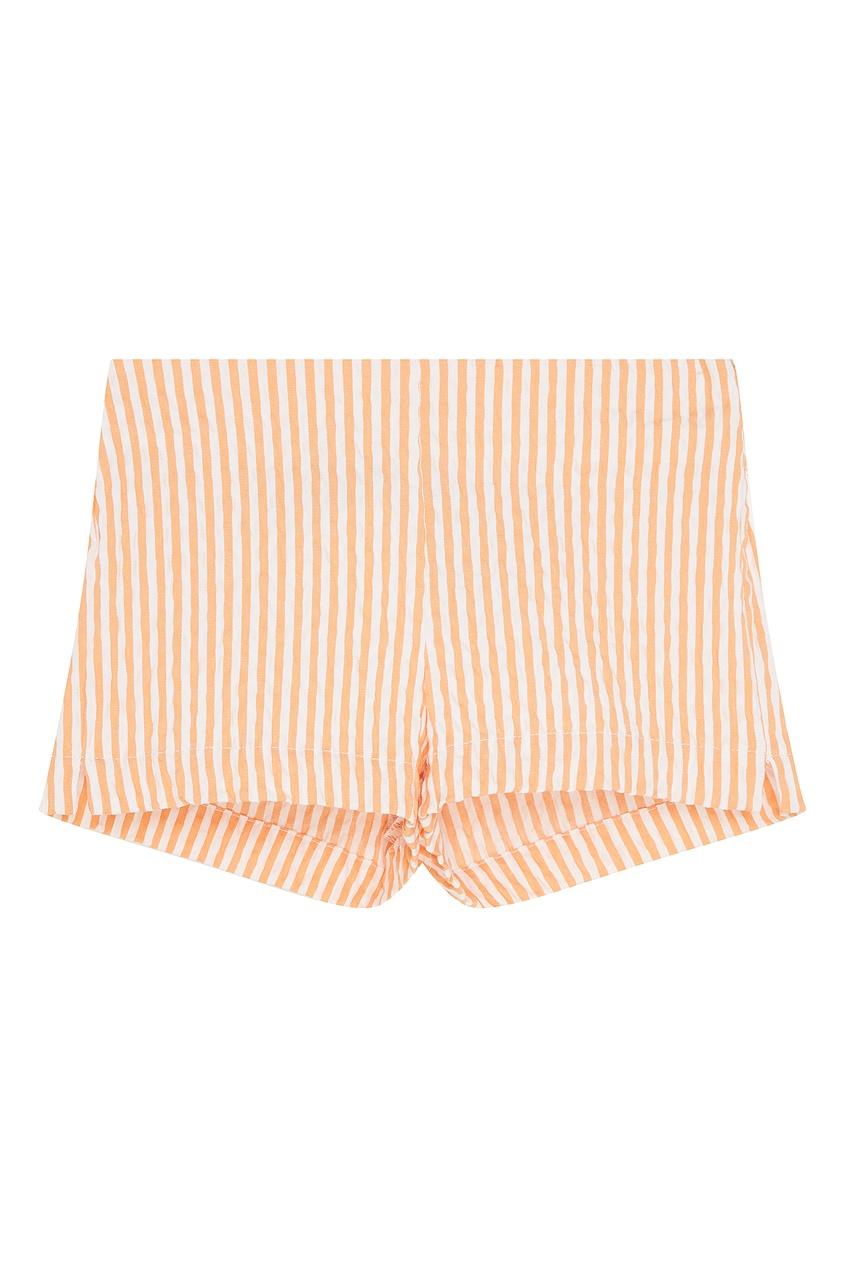 Купить Комбинированные шорты в полоску оранжевого цвета