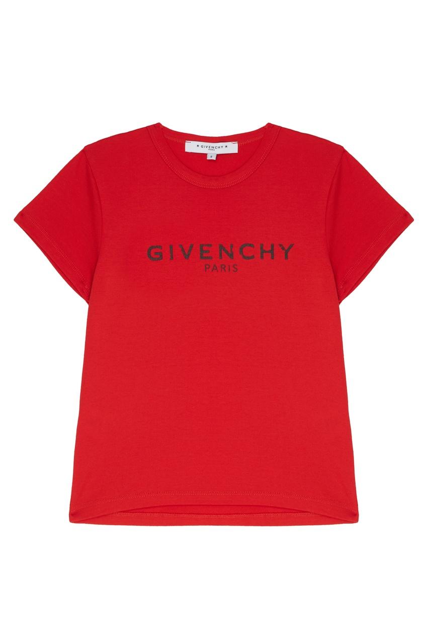 Купить Красная хлопковая футболка с логотипом красного цвета
