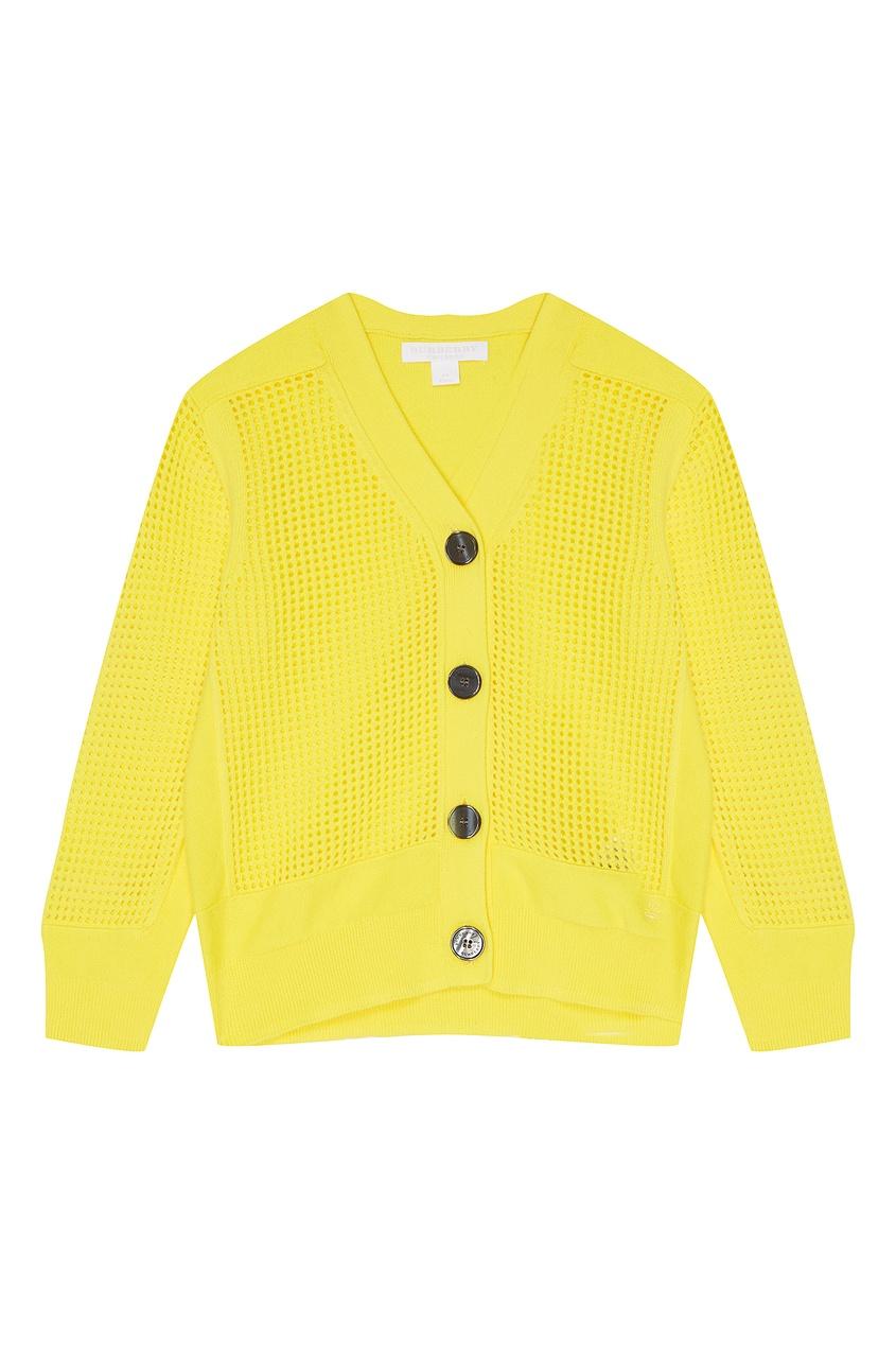 Купить Сетчатый желтый кардиган от Burberry Kids желтого цвета