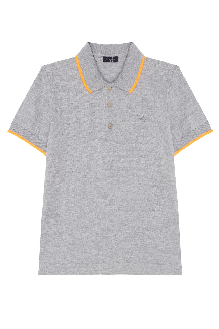 Купить Серая футболка-поло с отделкой серого цвета